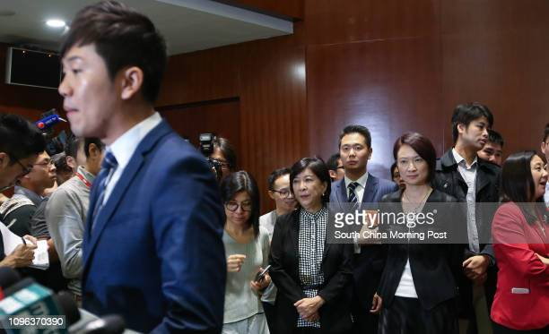 Lawmaker Cheng Chungtai meets the press at LegCo in Tamar while proestablishment legislators including Ann Chiang Laiwan Holden Chow Hoding Starry...