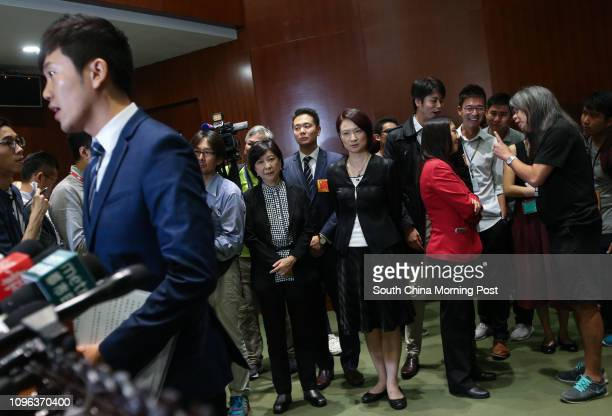 Lawmaker Cheng Chungtai meets the press at LegCo in Tamar while ProBeijing lawmakers including Ann Chiang Laiwan Starry Lee Waiking look on 26OCT16...