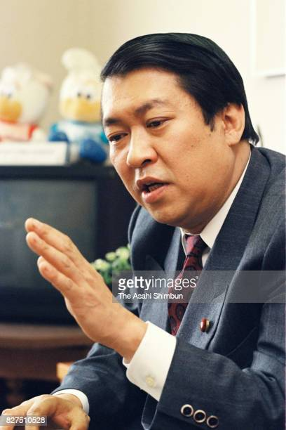 Lawmaker Kunio Hatoyama speaks during the Asahi Shimbun interview on April 7 1993 in Tokyo Japan