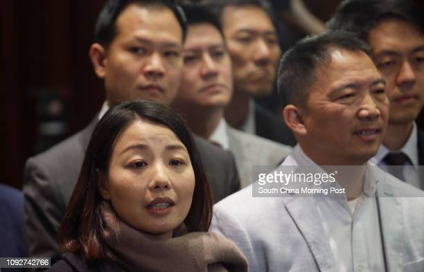 Lawmaker Lau Siulai gives a speech after Legco president Andrew Leung Kwanyuen ordered her to leave The Chief Executive's Question and Answer Session...
