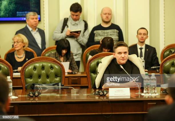 Lawmaker Nadiya Savchenko at a meeting of the Committee for House Rules and Verkhovna Rada Governance which is considering the proposal by Prosecutor...