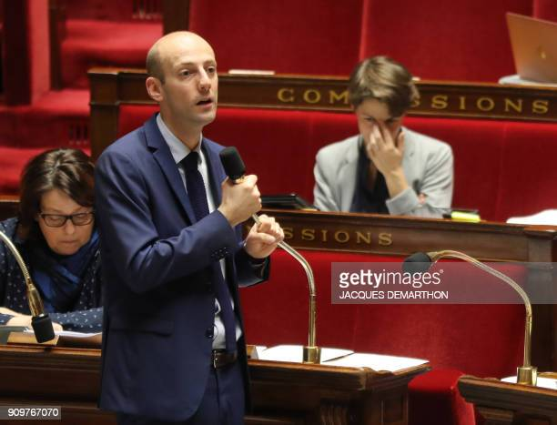 Lawmaker of the La Republique en Marche party and bill recorder Stanislas Guerini addresses a session of questions to the government on January 24...