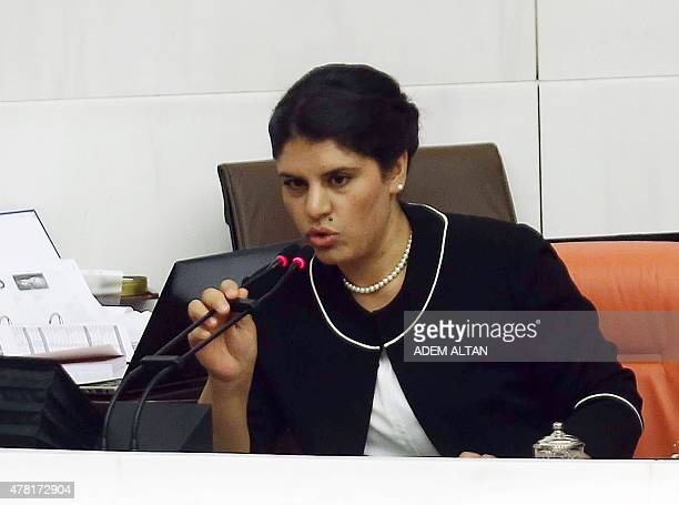 Lawmaker of the proKurdish Peoples' Democratic Party Dilek Ocalan niece of jailed Kurdistan Workers' Party leader speaks during a swearingin ceremony...