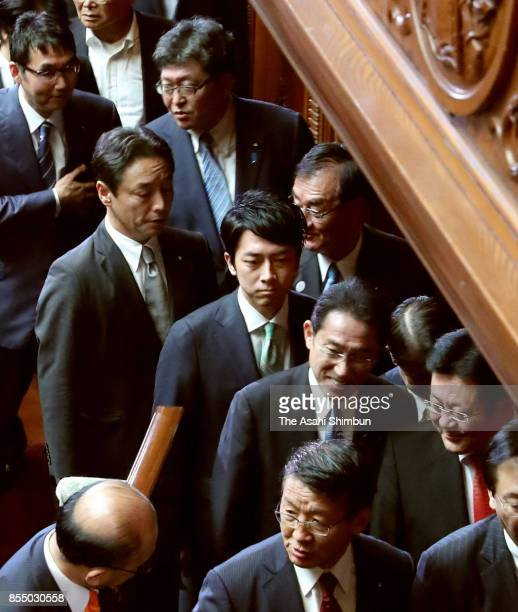 Lawmaker Shinjiro Koizumi is seen after the lower house was dissolved at the Diet Building on September 28 2017 in Tokyo Japan Prime Minister Shinzo...
