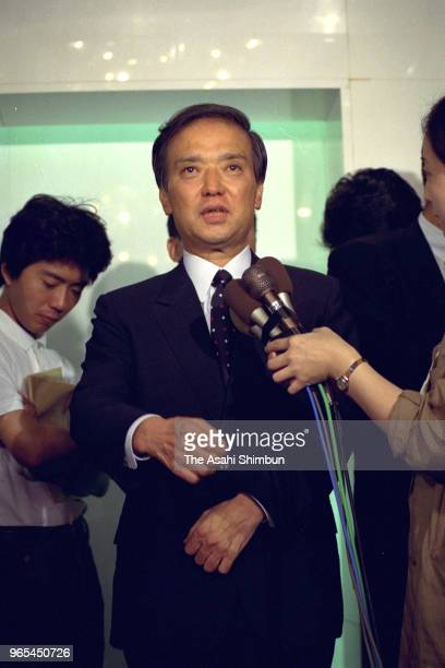 Lawmaker Toshiki Kaifu speaks to media reporters prior to announcing his run for the ruling Liberal Democratic Party presidential election on August...