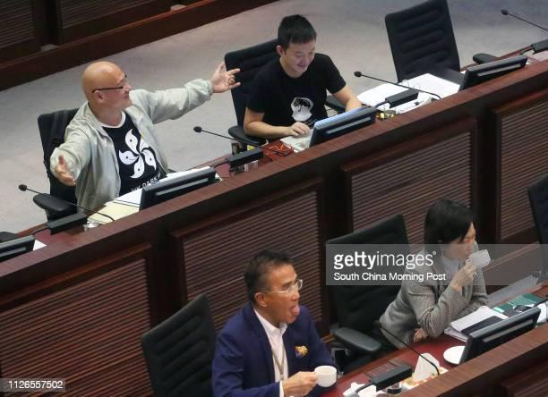 Lawmakers Albert Chan Waiyip Raymond Chan Chichuen Michael Tien Puksun and Regina Ip Lau Sukyee attend Legislative Council meeting at Legco Building...