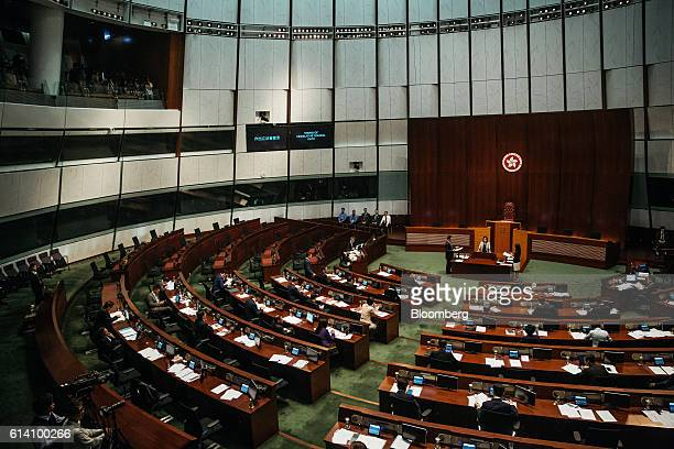 Lawmakers attend an oathtaking ceremony in the chamber of the Legislative Council in Hong Kong China on Wednesday Oct 12 2016 Three incoming Hong...