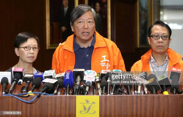 Lawmakers Cyd Ho Saulan Lee Cheukyan and Peter Cheung Kwokche meet the media after Chief Executive Leung Chunying's question answer session in the...