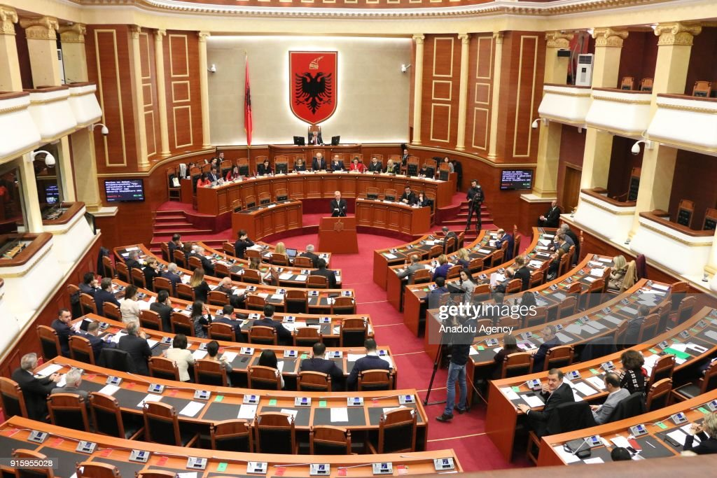 Lawmakers debate over Albania's UN Jerusalem vote at Albania's parliament in Tiran, Albania on February 8, 2018.