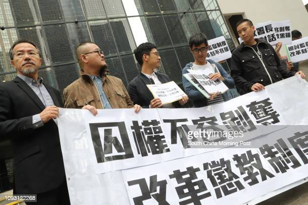 Lawmakers Fernando Cheung Chiuhung Shiu Kachun activists Nathan Law Kwunchung Alex Chow Yongkang and a member from the concern group file a complaint...