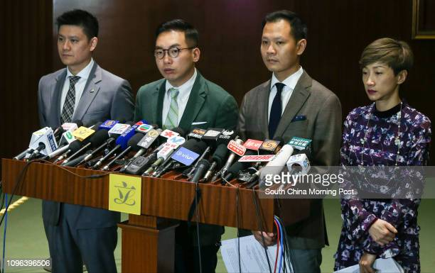 Lawmakers Jeremy Tam Manho Alvin Yeung Ngokkiu Dennis Kwok Winghang and Tanya Chan Sukchong of Civic Party meet the press at LegCo in Tamar 15NOV16...