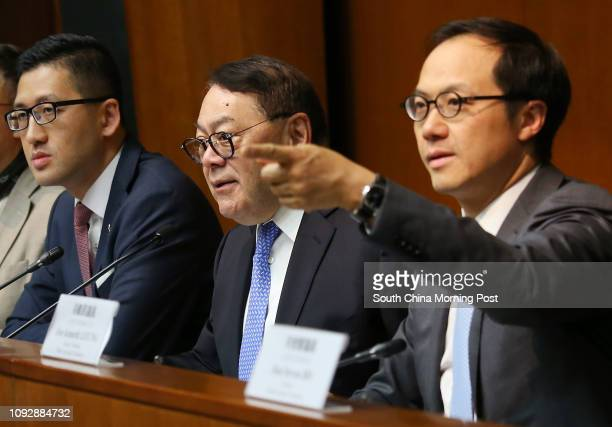 Lawmakers Lam Cheukting Abraham Razack Chairman of Public Accounts Committee Kenneth Leung Kaicheong attend a press conference of the Public Accounts...