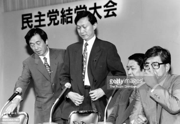 Lawmakers Naoto Kan Yukio Hatoyama Kunio Hatoyama and Takahiro Yokomichi attend a press conference after the ceremony to mark the foundation of the...