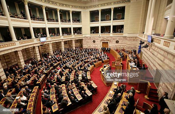 Lawmakers preside over the first round of voting to elect a new Greek president at the Parliament on December 17 2014 in Athens Greece Mihaloliakos...