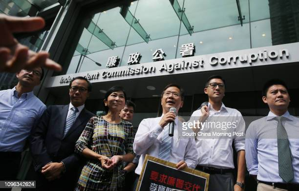 Lawmakers Raymond Chan Chichuen Kenneth Leung Kaicheong Claudia Mo Manching Kwok Kaki Lam Cheukting and Jeremy Jansen Tam Manho at ICAC Headquarter...
