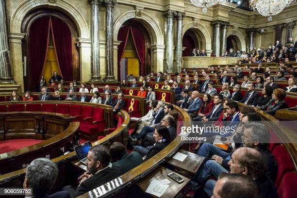 Lawmakers sit during a session of the Catalan parliament in Barcelona Spain on Wednesday Jan 17 2018 Spanish Prime Minister Mariano Rajoy saw his...