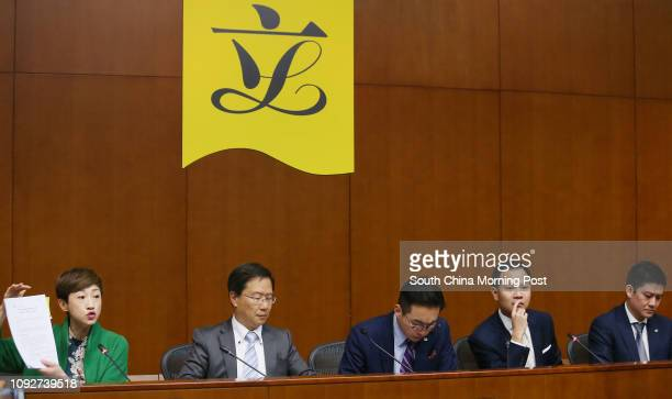 Lawmakers Tanya Chan Sukchong Kwok Kaki Alvin Yeung Ngokkiu Dennis Kwok Winghang and Jeremy Jansen Tam Manho of Civic Party meet the media after...