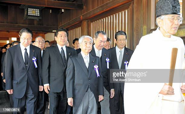 Lawmakers visit Yasukuni Shrine on August 15, 2013 in Tokyo, Japan. Japan marks the 68th anniversary of the end of World War II in Asia today,...