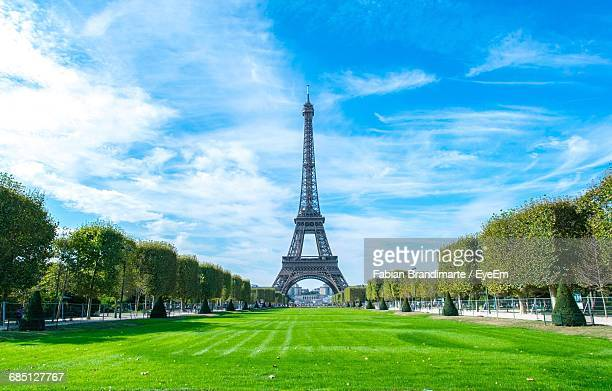 Lawn Against Eiffel Tower In City