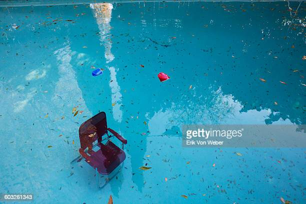 lawn chair sunk to bottom of pool after party
