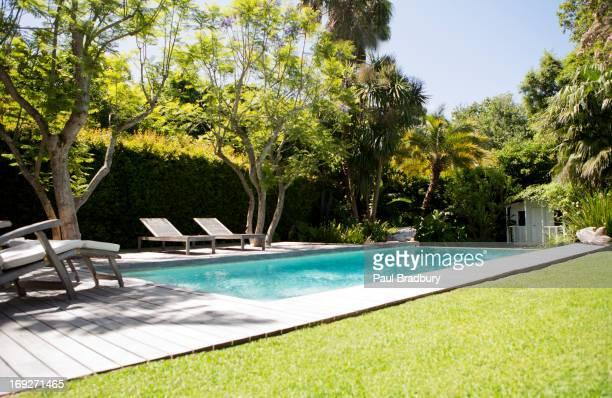 Lawn chairs and swimming pool in backyard