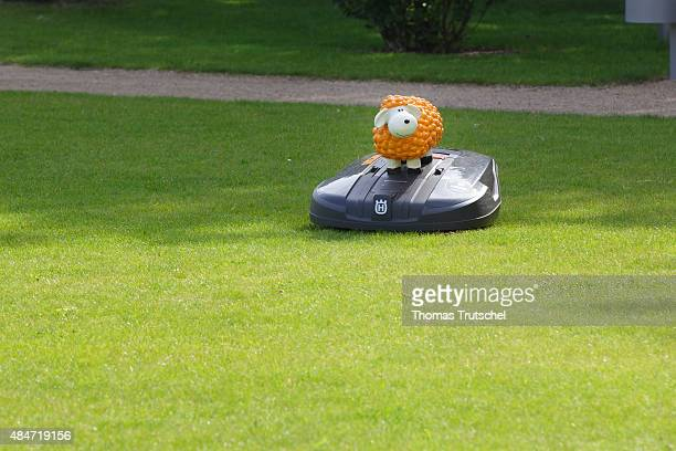 A Lawn robot is mowing the lawn on June 22 2015 in Potsdam Germany
