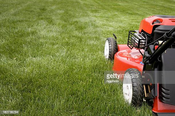 A lawnmower mowing the grass on a lawn