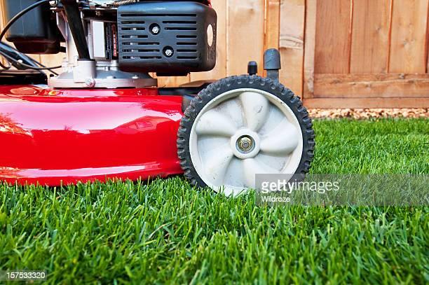 Lawnmower on lush green lawn