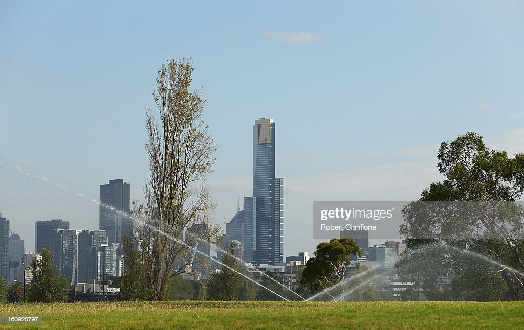 Lawns are watered as the circuit is prepared for the Australian Formula One grand Prix at Albert Park, on February 8, 2013 in Melbourne, Australia.