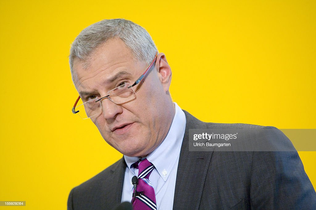 Lawrence (Larry) A. Rosen, Chief Financial Officer of Deutsche Post AG, delivers his speech during the company's nine months press conference at Hilton Frankfurt Airport on November 8, 2012 in Frankfurt am Main, Germany.