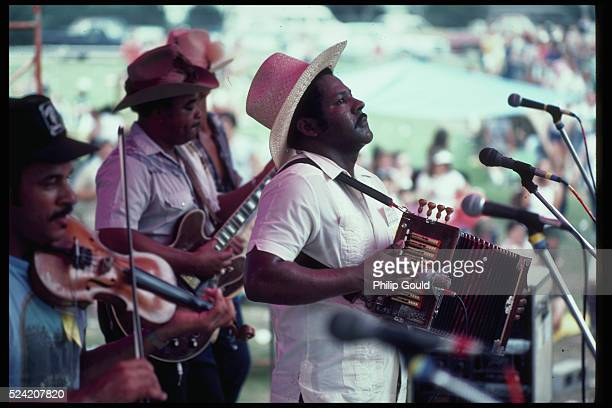 Lawrence Ardoin plays the accordion at the Cajun Music Festival in Lafayette, Louisiana.