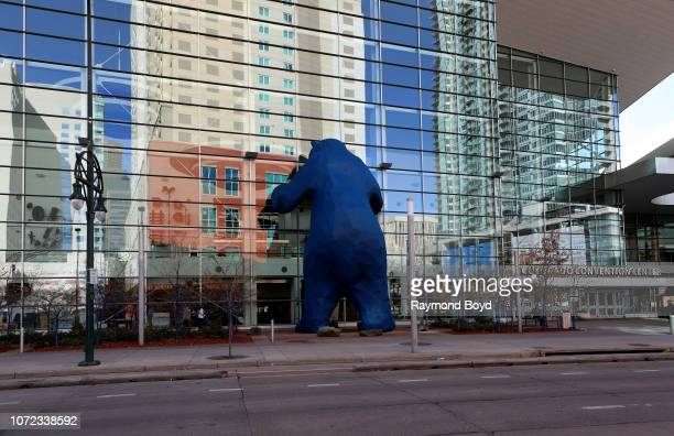 Lawrence Argent's 'I See What You Mean' sculpture stands outside the Colorado Convention Center in Denver Colorado on November 15 2018 MANDATORY...