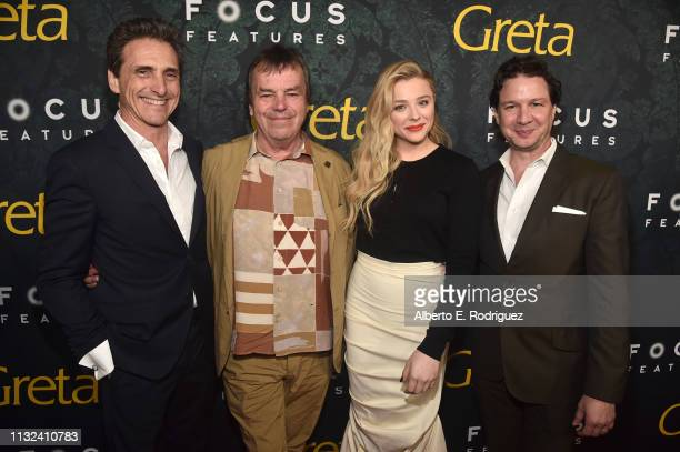 """Lawrence Bender, Neil Jordan, Chloe Grace Moretz and John Penotti attend the premiere of Focus Features' """"Greta"""" at ArcLight Hollywood on February..."""