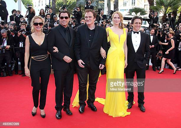 Lawrence Bender Quentin Tarantino Uma Thurman John Travolta and Kelly Preston attend the 'Clouds Of Sils Maria' Premiere at the 67th Annual Cannes...