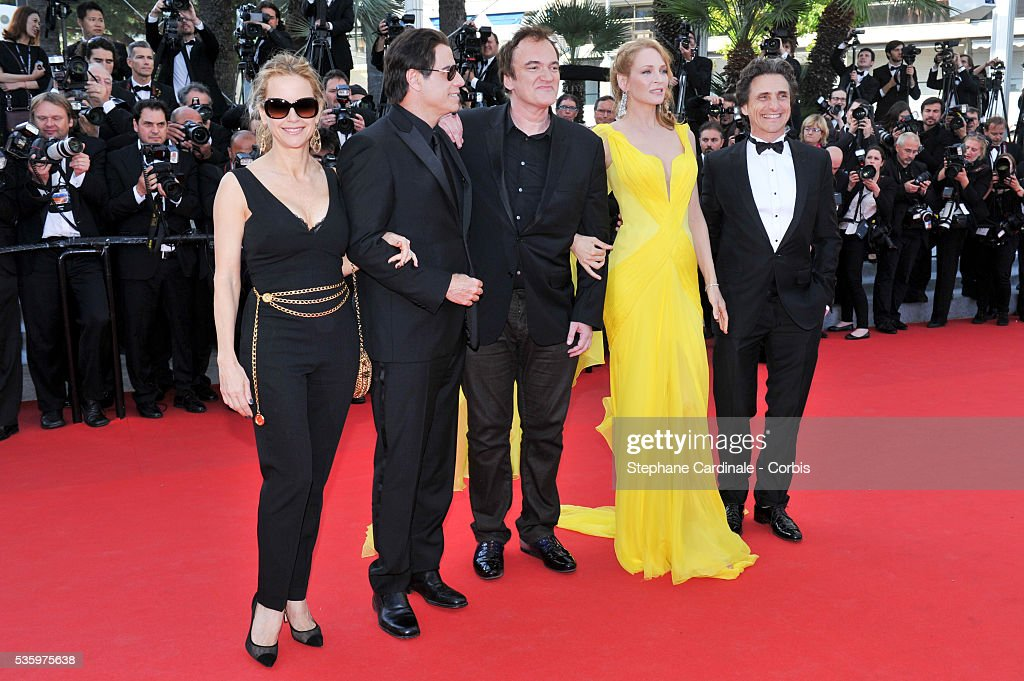 Lawrence Bender, Quentin Tarantino, Uma Thurman, John Travolta, Kelly Preston at the 'Clouds Of Sils Maria' Premiere at the 67th Annual Cannes Film Festival