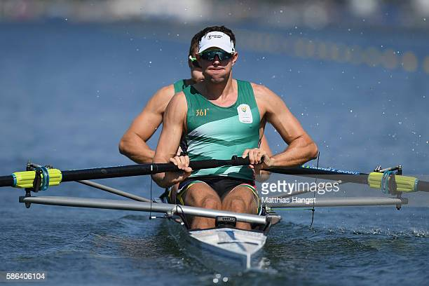 Lawrence Brittain and Shaun Keeling of South Africa compete during the Men's Pair Heat 1 on Day 1 of the Rio 2016 Olympic Games at the Lagoa Stadium...