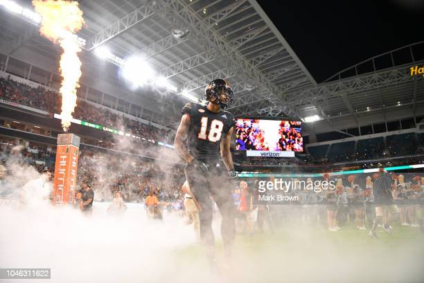 Lawrence Cager of the Miami Hurricanes takes the field before the game against the North Carolina Tar Heels at Hard Rock Stadium on September 27 2018...