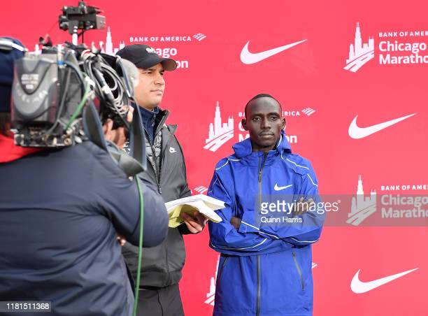 Lawrence Cherono of Kenya addresses the media after winning the 2019 Bank of America Chicago Marathon on October 13, 2019 in Chicago, Illinois.