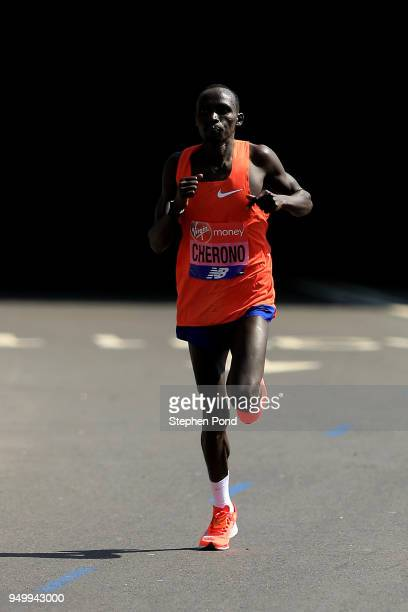 Lawrence Cherono of Kenya during the Virgin Money London Marathon on April 22, 2018 in London, England.