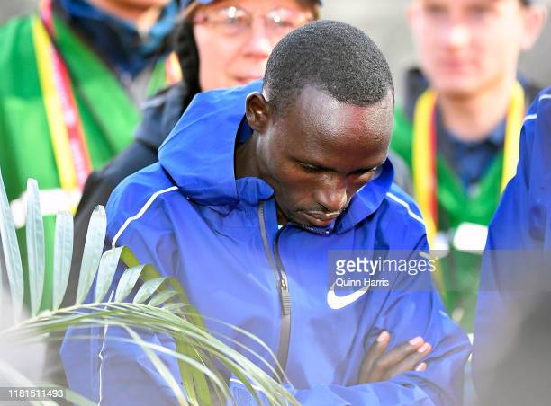 Lawrence Cherono of Kenya looks on after winning the 2019 Bank of America Chicago Marathon on October 13, 2019 in Chicago, Illinois.