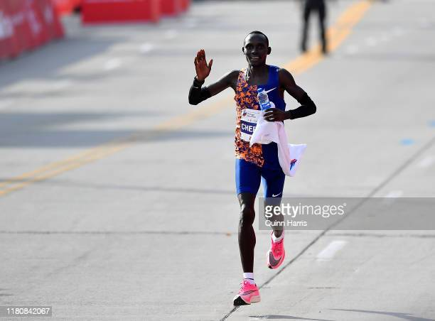 Lawrence Cherono of Kenya reacts after winning the 2019 Bank of America Chicago Marathon on October 13, 2019 in Chicago, Illinois.