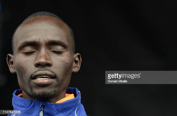 Lawrence Cherono of Kenya stands on the main stage after his 2nd place finish in the Men's 1/2 Marathon during the 2019 Rock'n'Roll San Diego...