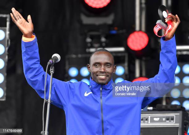 Lawrence Cherono of Kenya stands own the main stage after his 2nd place finish in the Men's 1/2 Marathon during the 2019 Rock'n'Roll San Diego...