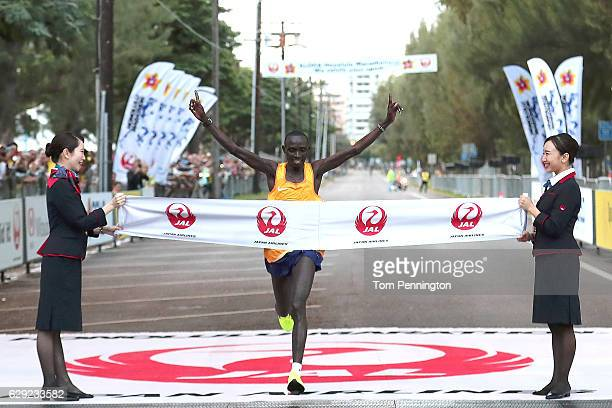 Lawrence Cherono of Kenya wins the men's marathon during the Honolulu Marathon 2016 on December 11, 2016 in Honolulu, Hawaii.