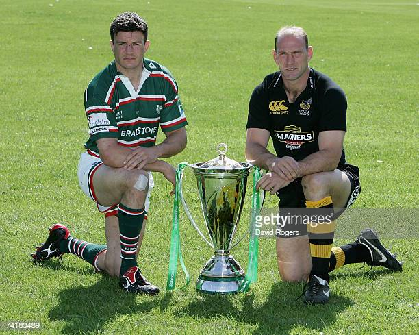 Lawrence Dallagio captain of London Wasps with Martin Corry captain of Leicester Tigers pose with the trophy at Bletchley Rugby Club prior to...