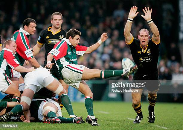 Lawrence Dallaglio of London Wasps blocks a kick by Harry Ellis of Leicester Tigers during the Heineken Cup match between London Wasps and Leicester...