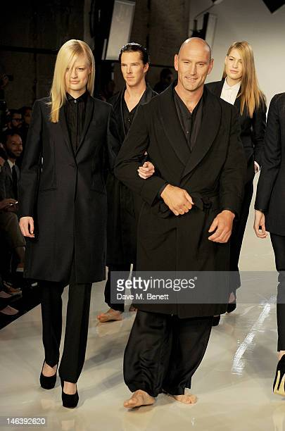 Lawrence Dallaglio walks the runway at the Spencer Hart Spring/Summer 2013 catwalk show during London Collections Men at the Old Selfridges Hotel on...