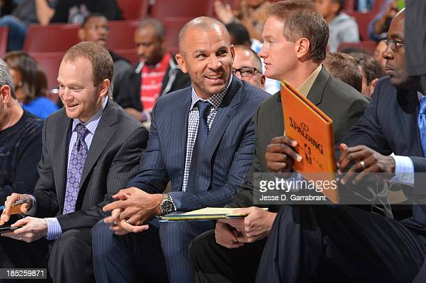 Lawrence Frank and Jason Kidd of the Brooklyn Nets coach from the bench against the Philadelphia 76ers at the Wells Fargo Center on October 14 2013...