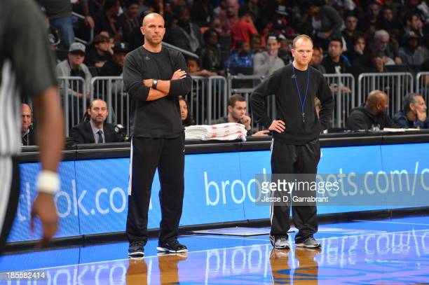 Lawrence Frank and Jason Kidd of the Brooklyn Nets talk during practice at The Barclays Center on October 20 2013 in Brooklyn New York NOTE TO USER...