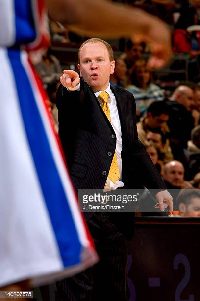 Lawrence Frank head coach of the Detroit Pistons directs his team against the Charlotte Bobcats on February 29 2012 at The Palace of Auburn Hills in...